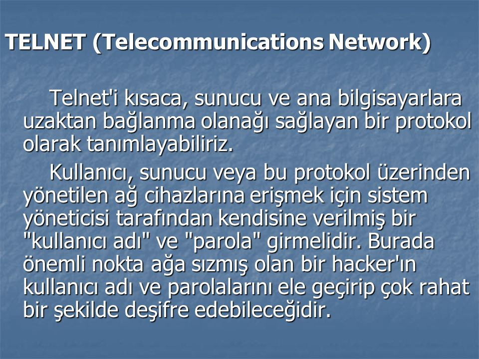 TELNET (Telecommunications Network)