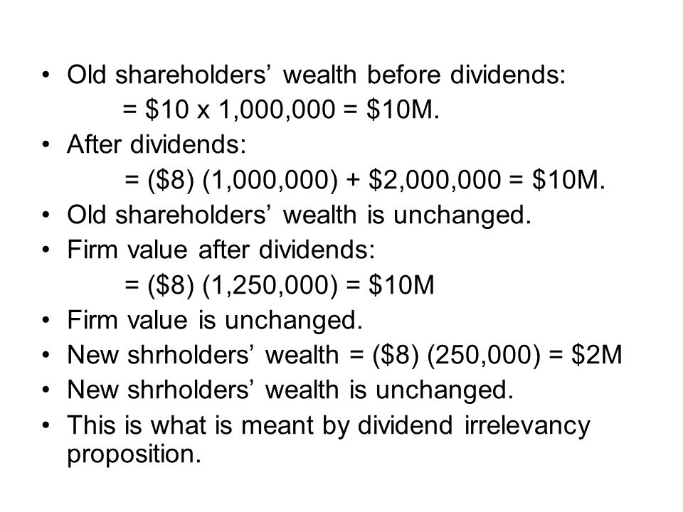 Old shareholders' wealth before dividends: