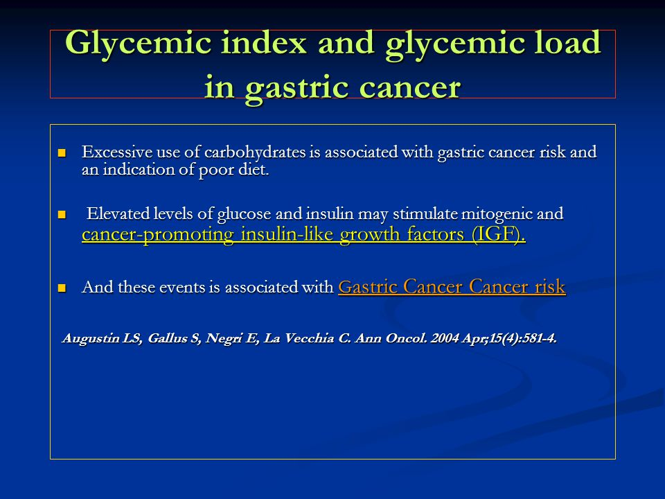 Glycemic index and glycemic load in gastric cancer