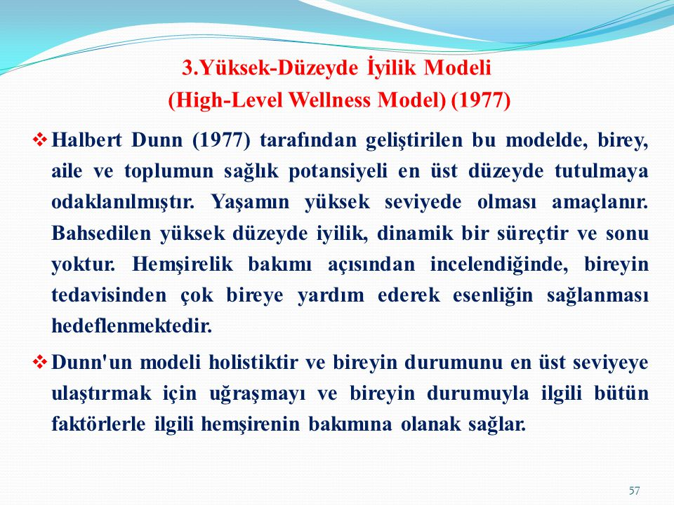 3.Yüksek-Düzeyde İyilik Modeli (High-Level Wellness Model) (1977)