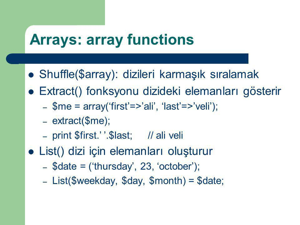 Arrays: array functions
