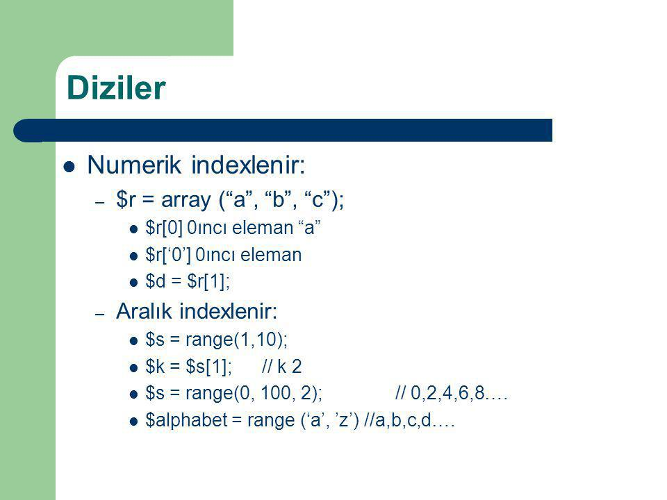 Diziler Numerik indexlenir: $r = array ( a , b , c );