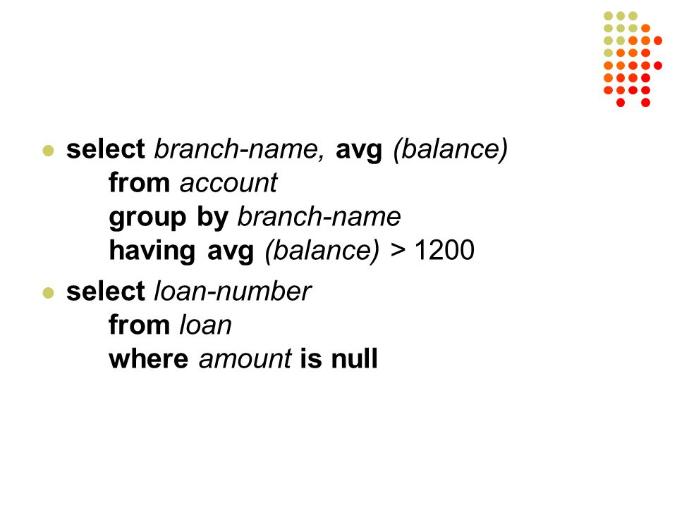 select branch-name, avg (balance). from account. group by branch-name