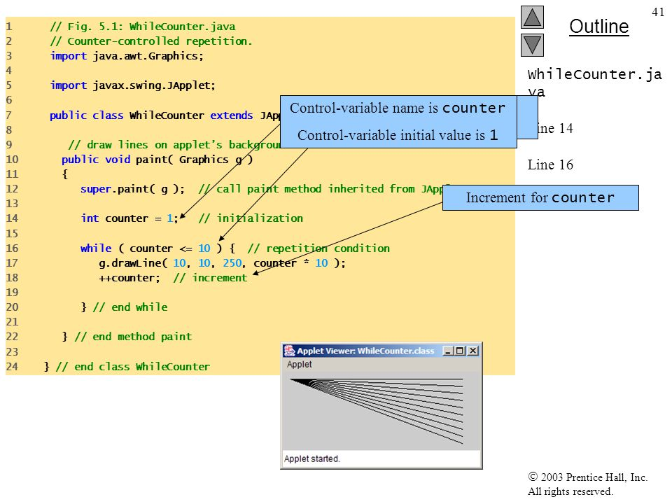 WhileCounter.java Line 14 Line 16 Line 18