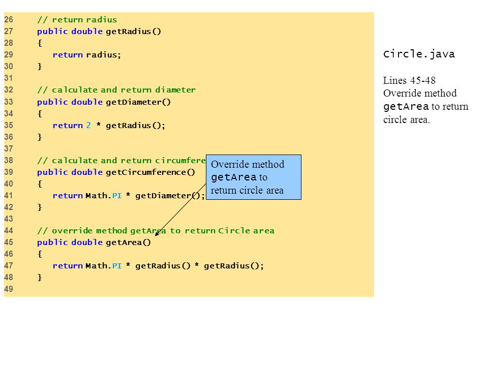 Circle.java Lines 45-48 Override method getArea to return circle area.