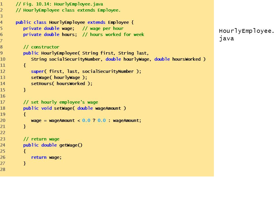 HourlyEmployee.java 1 // Fig. 10.14: HourlyEmployee.java