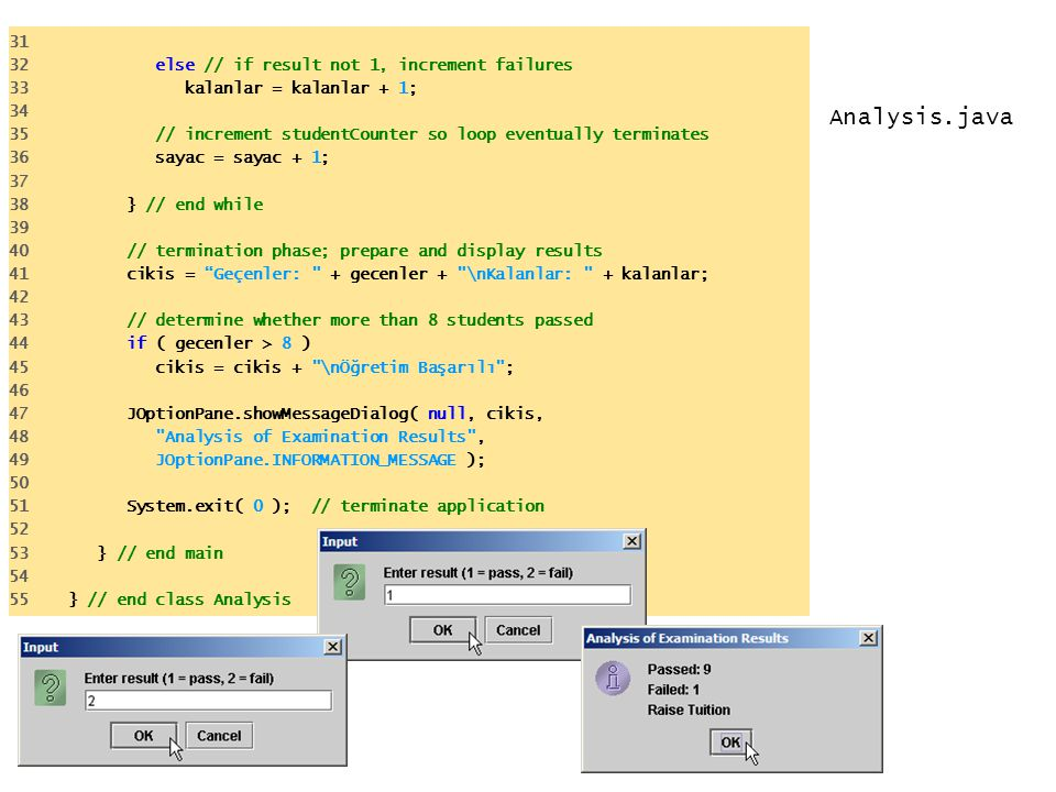 Analysis.java else // if result not 1, increment failures