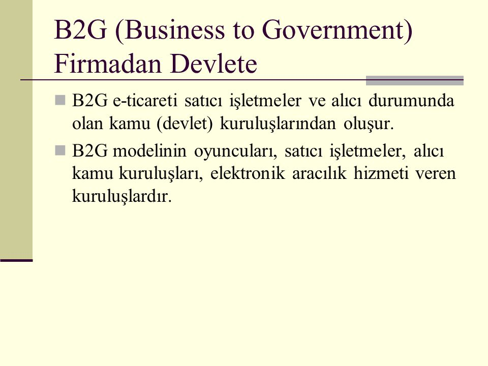 B2G (Business to Government) Firmadan Devlete