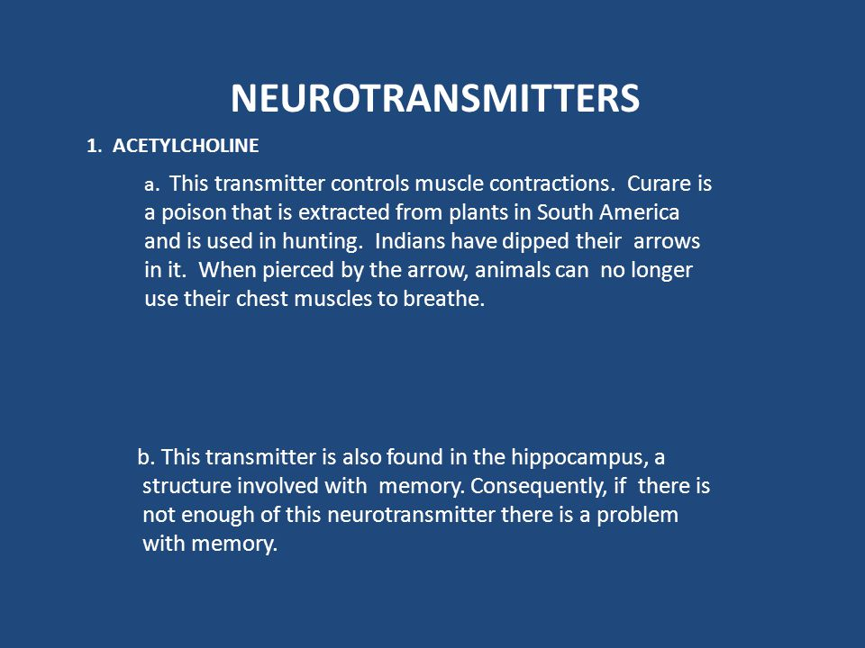 NEUROTRANSMITTERS 1. ACETYLCHOLINE.