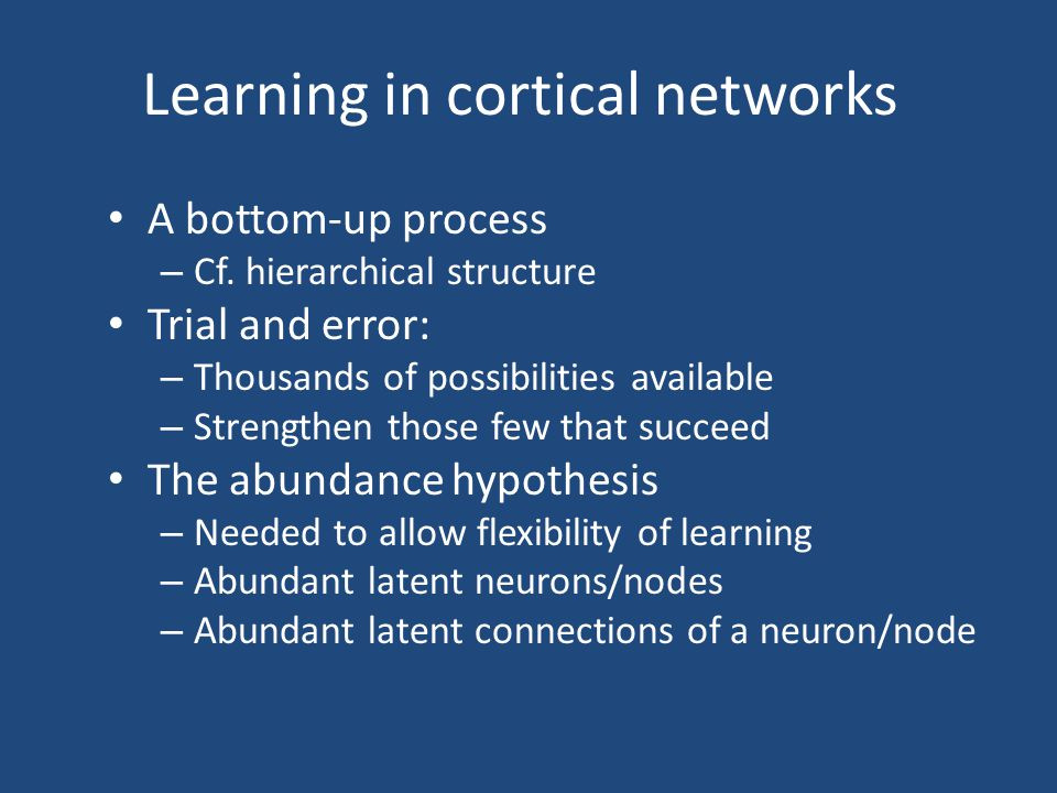 Learning in cortical networks