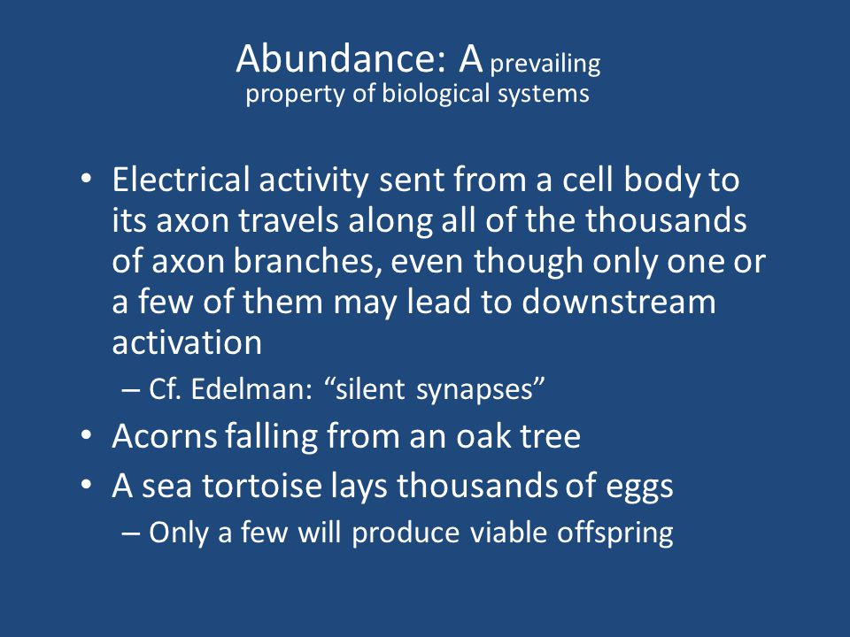 Abundance: A prevailing property of biological systems