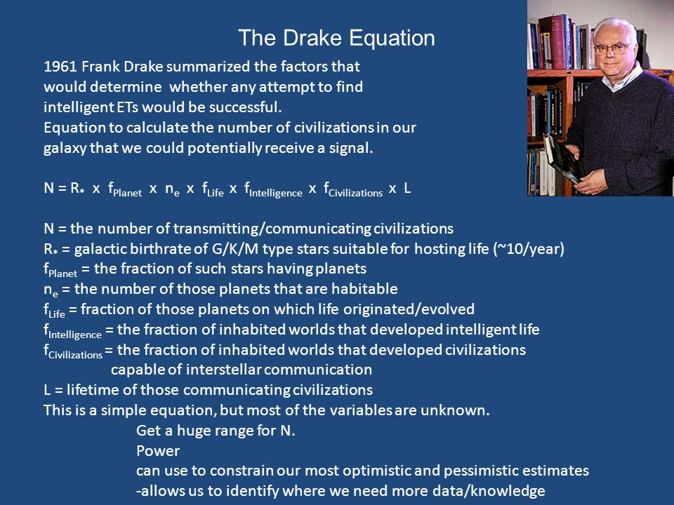The Drake Equation 1961 Frank Drake summarized the factors that