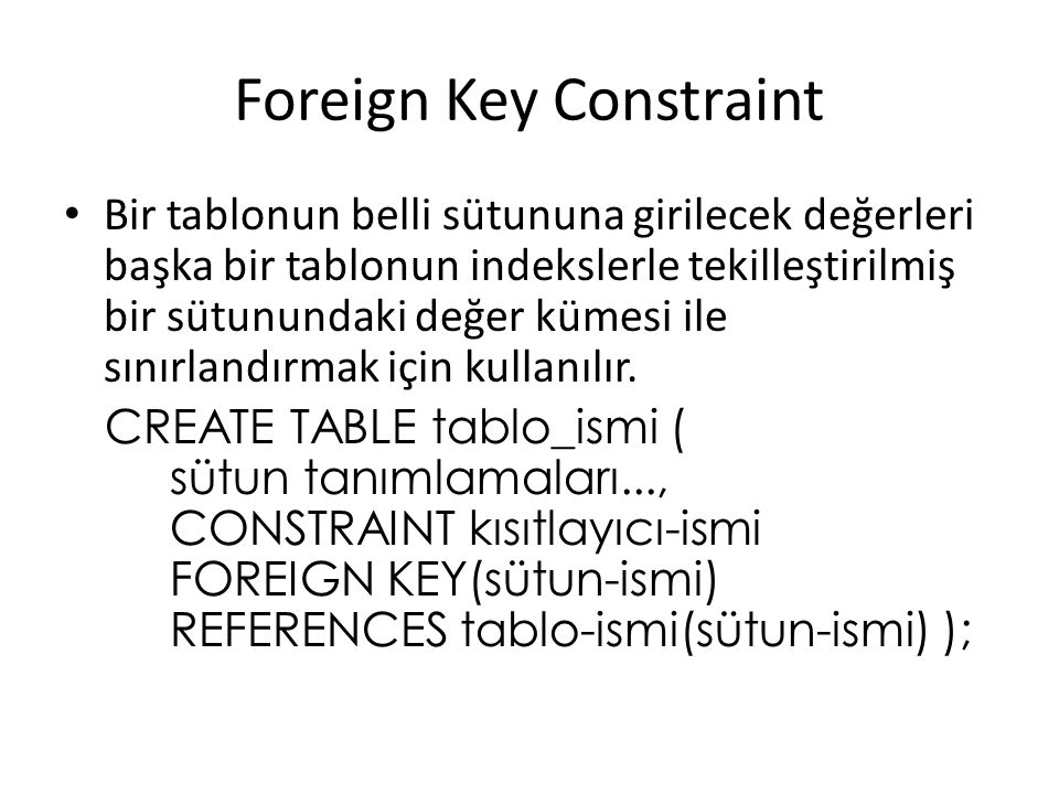 Foreign Key Constraint