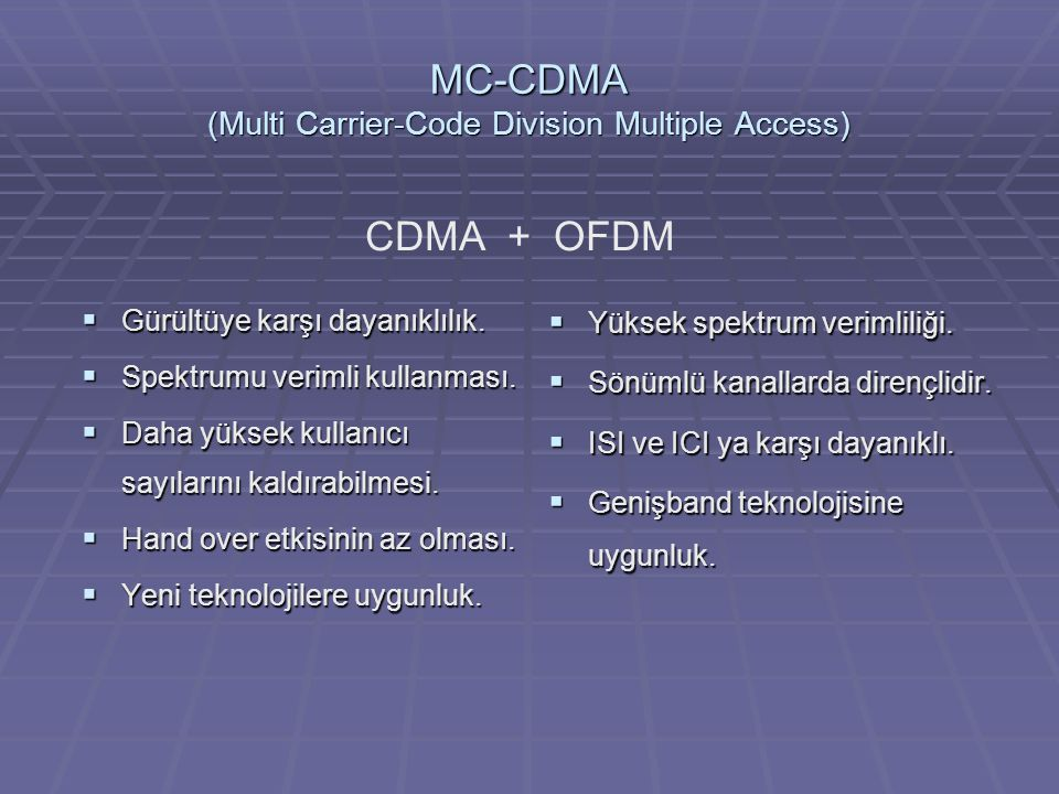 MC-CDMA (Multi Carrier-Code Division Multiple Access)