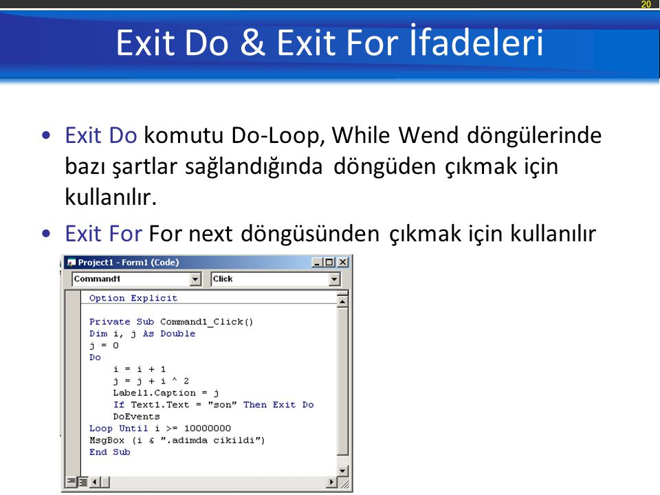 Exit Do & Exit For İfadeleri