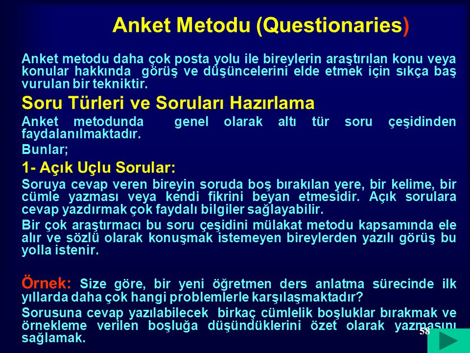 Anket Metodu (Questionaries)