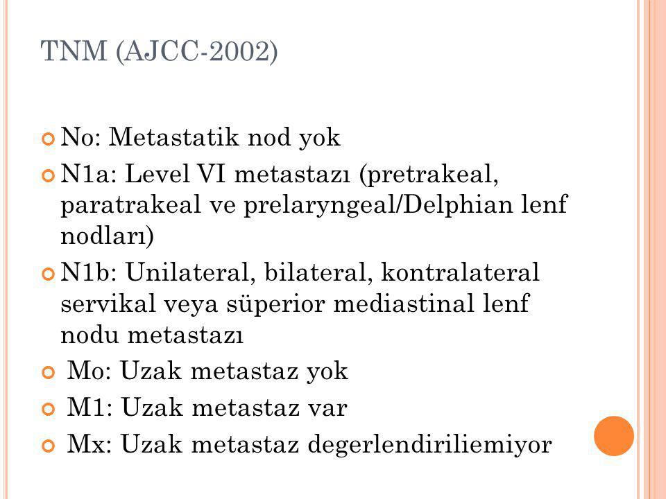 TNM (AJCC-2002) No: Metastatik nod yok