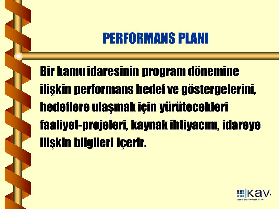 PERFORMANS PLANI Bir kamu idaresinin program dönemine
