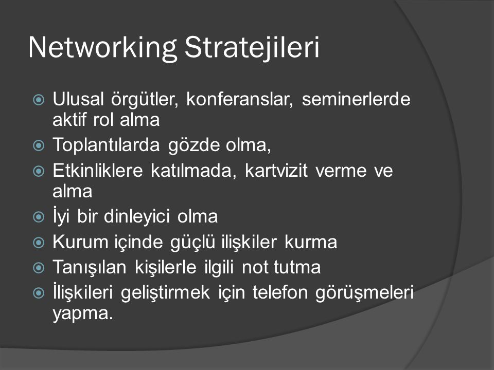 Networking Stratejileri