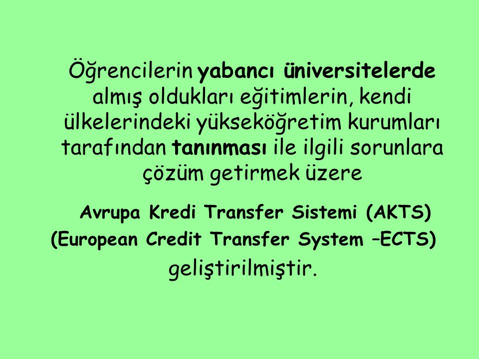 (European Credit Transfer System –ECTS)