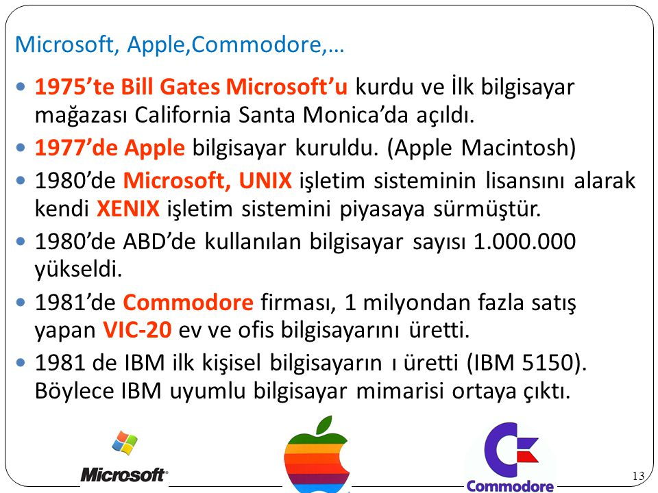 Microsoft, Apple,Commodore,…