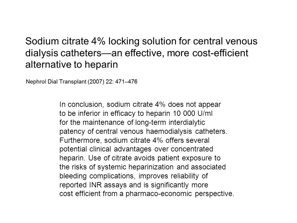 In conclusion, sodium citrate 4% does not appear