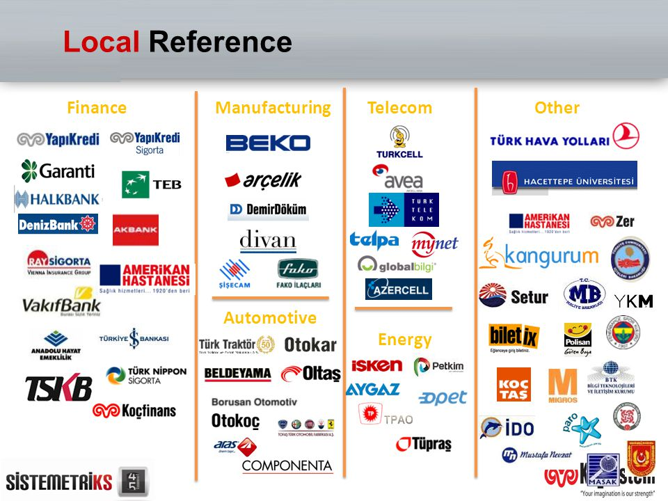 Local Reference Finance Manufacturing Telecom Other Automotive Energy