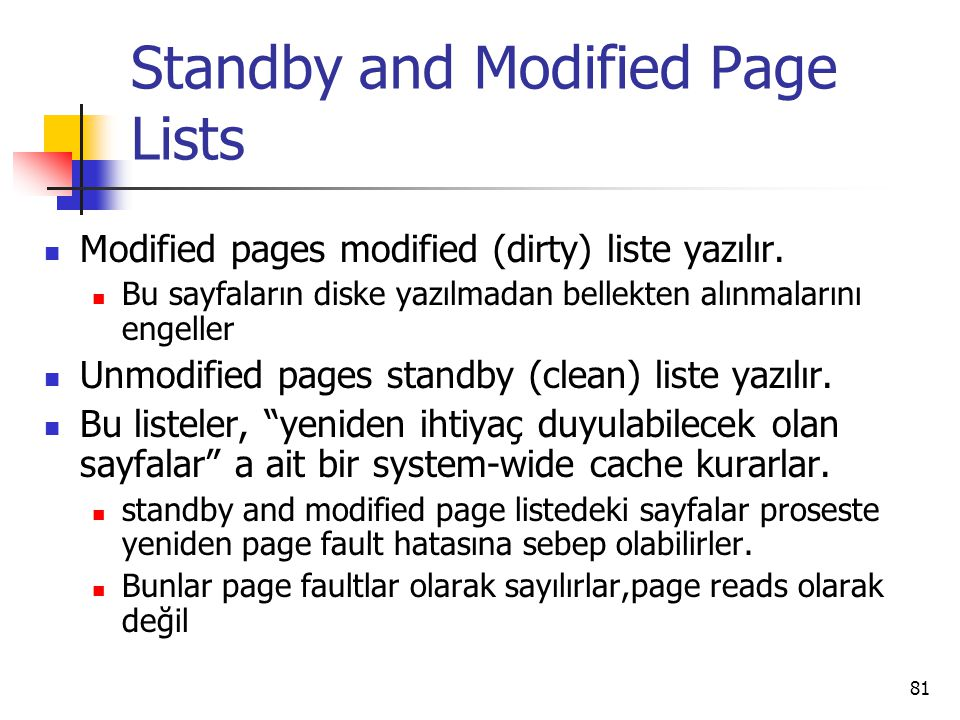 Standby and Modified Page Lists