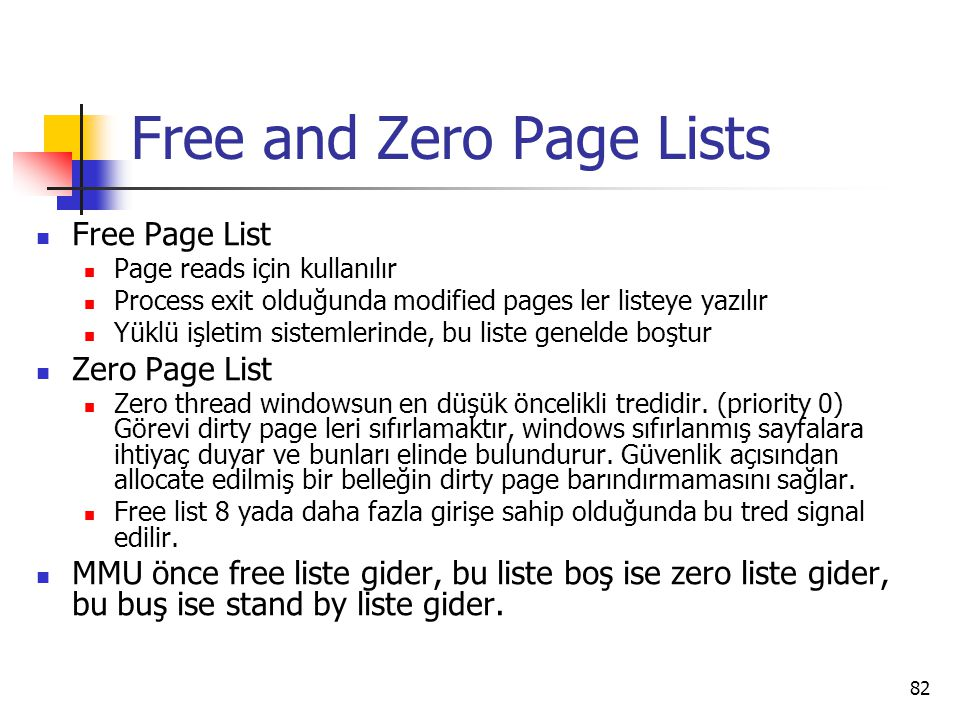Free and Zero Page Lists