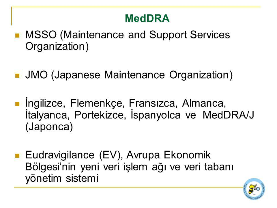 MedDRA MSSO (Maintenance and Support Services Organization) JMO (Japanese Maintenance Organization)