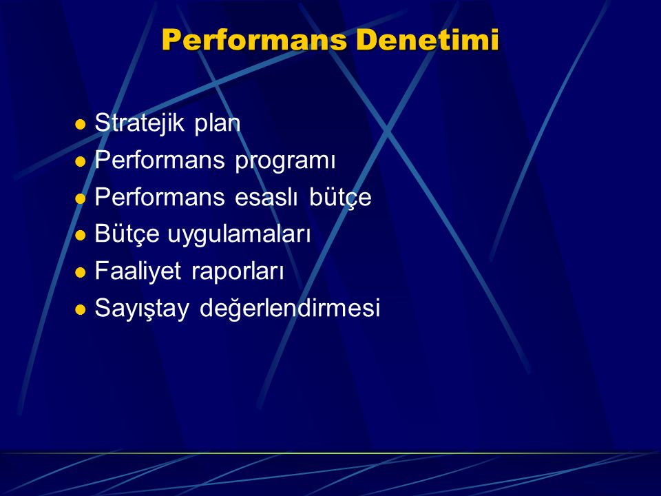 Performans Denetimi Stratejik plan Performans programı