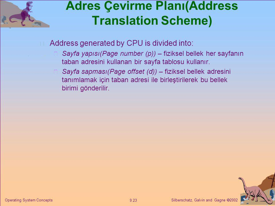 Adres Çevirme Planı(Address Translation Scheme)