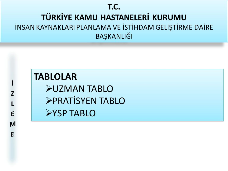 TABLOLAR UZMAN TABLO PRATİSYEN TABLO YSP TABLO T.C.