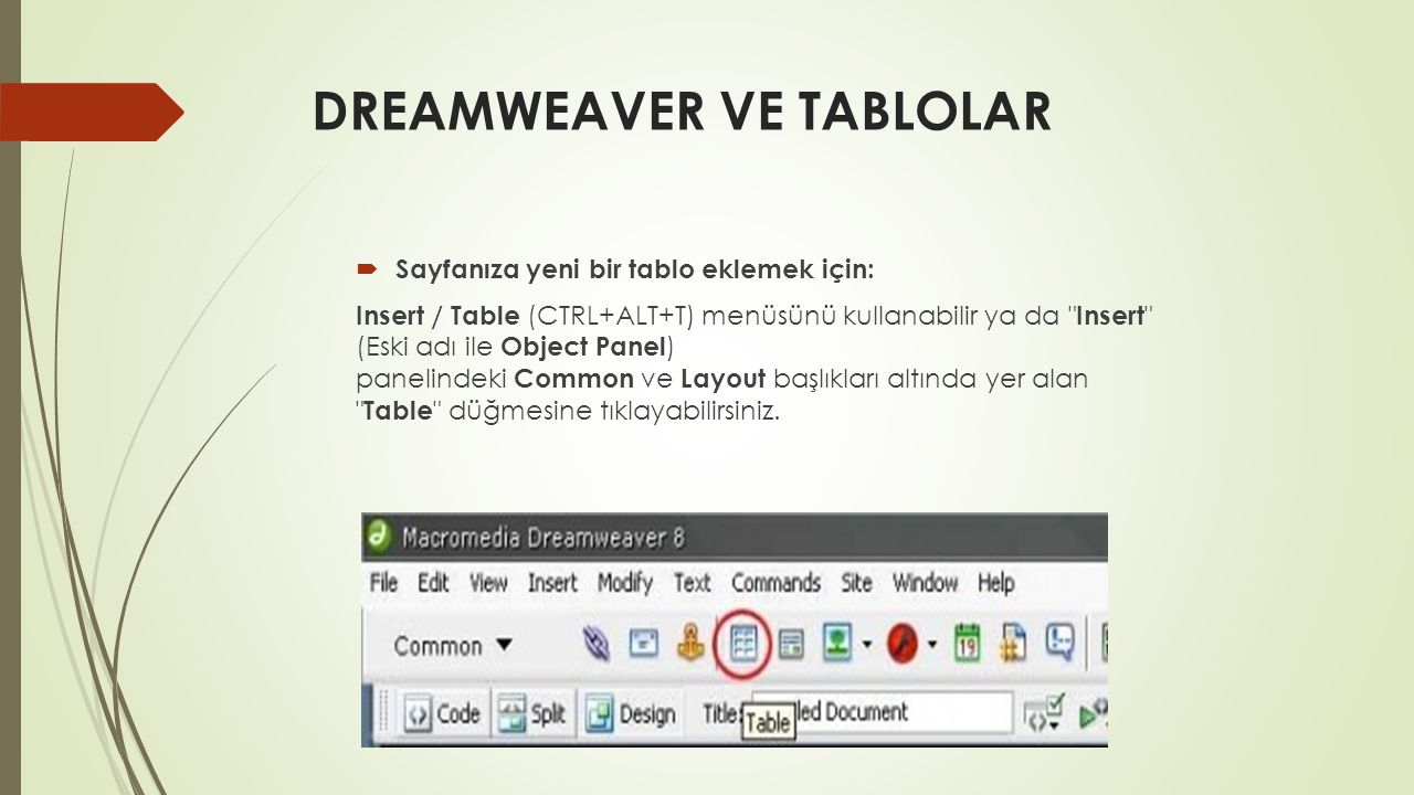 DREAMWEAVER VE TABLOLAR