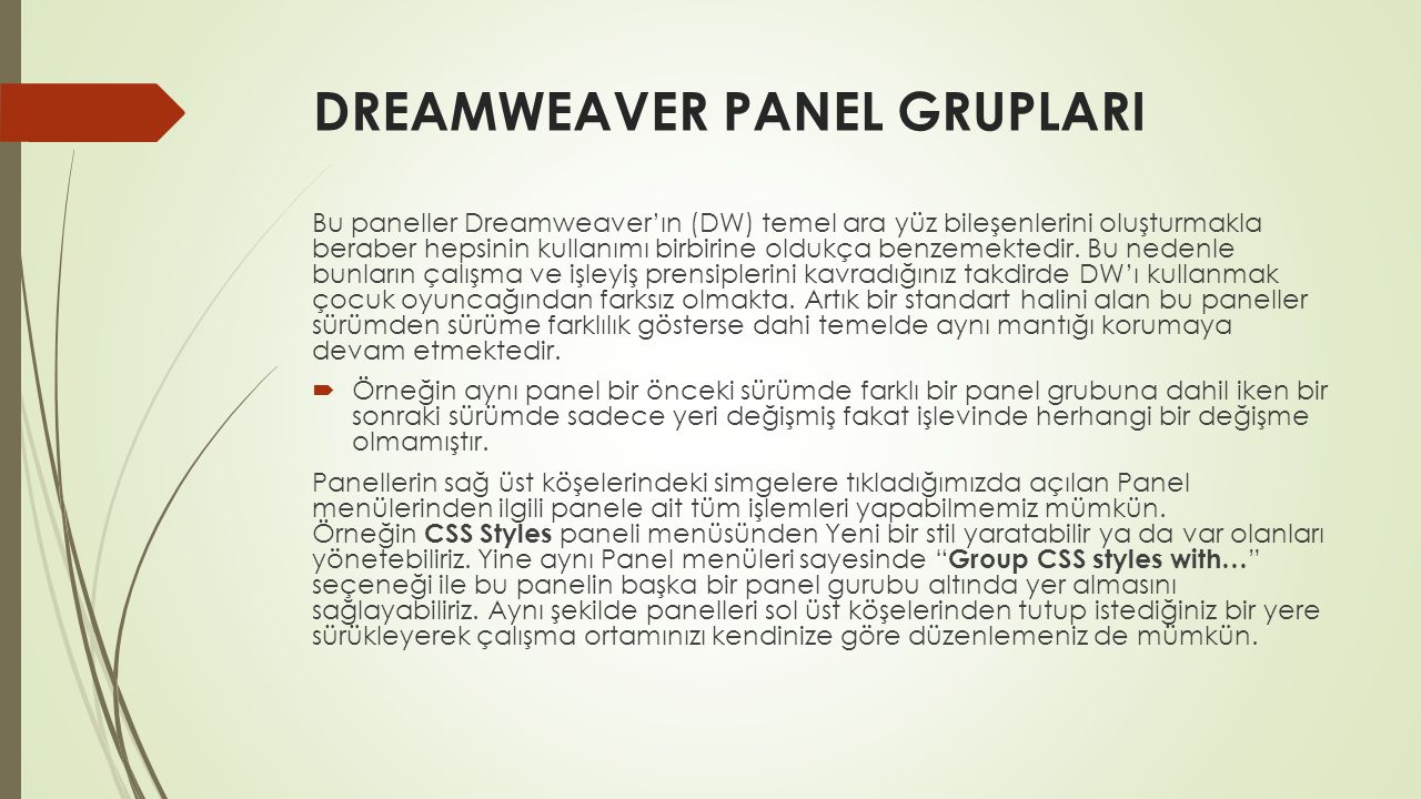 DREAMWEAVER PANEL GRUPLARI
