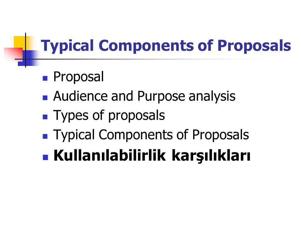 Typical Components of Proposals