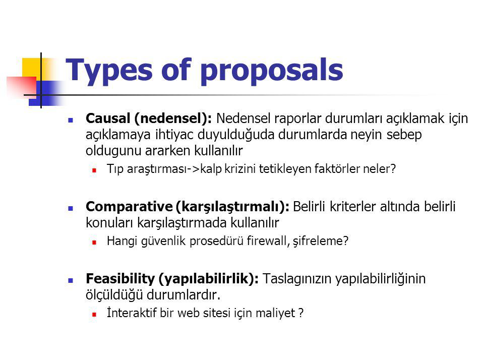 Types of proposals