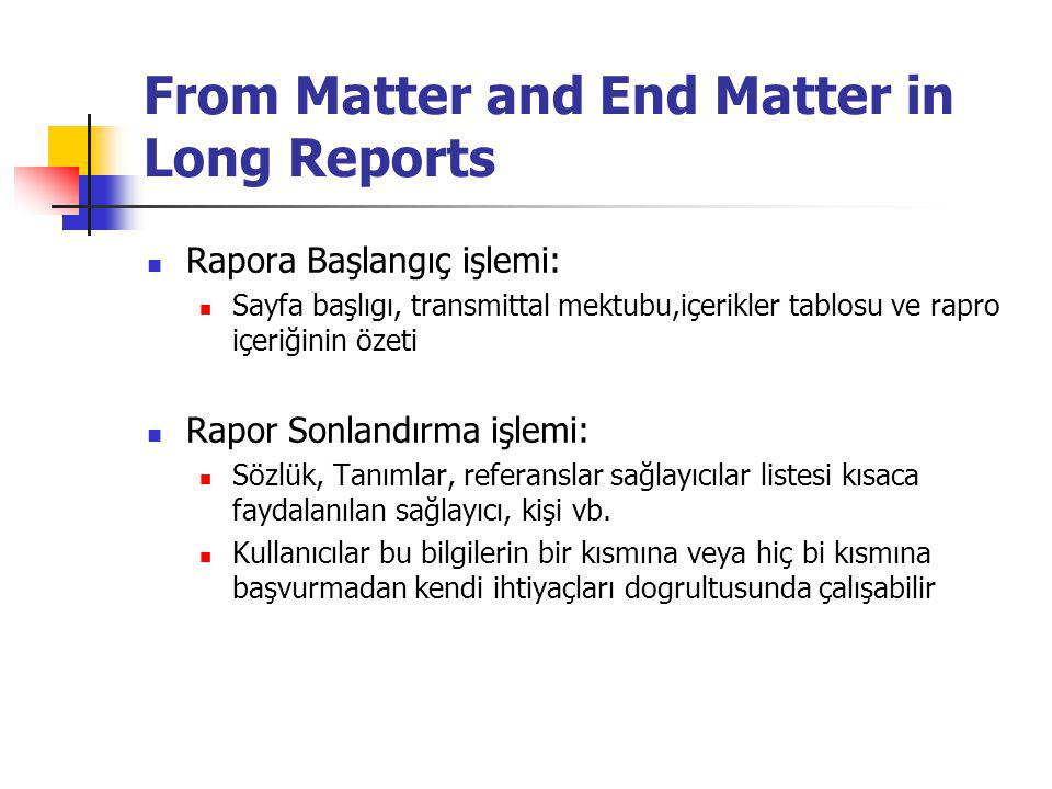From Matter and End Matter in Long Reports