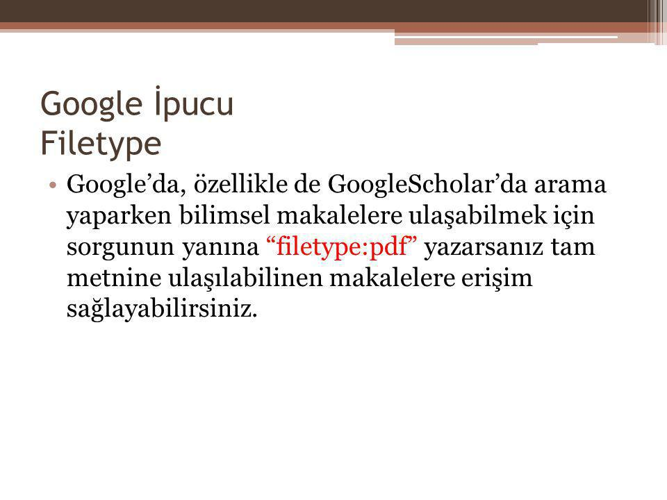 Google İpucu Filetype