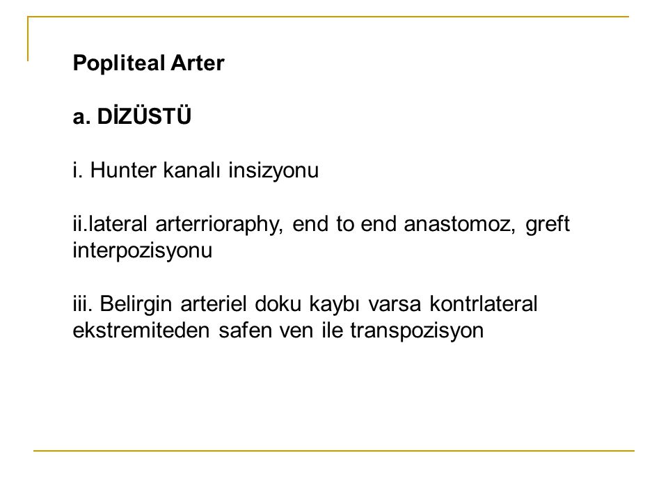 Popliteal Arter a. DİZÜSTÜ. i. Hunter kanalı insizyonu. ii.lateral arterrioraphy, end to end anastomoz, greft interpozisyonu.