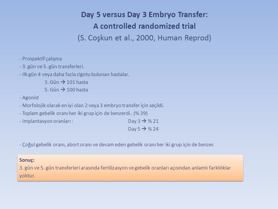 Day 5 versus Day 3 Embryo Transfer: A controlled randomized trial (S