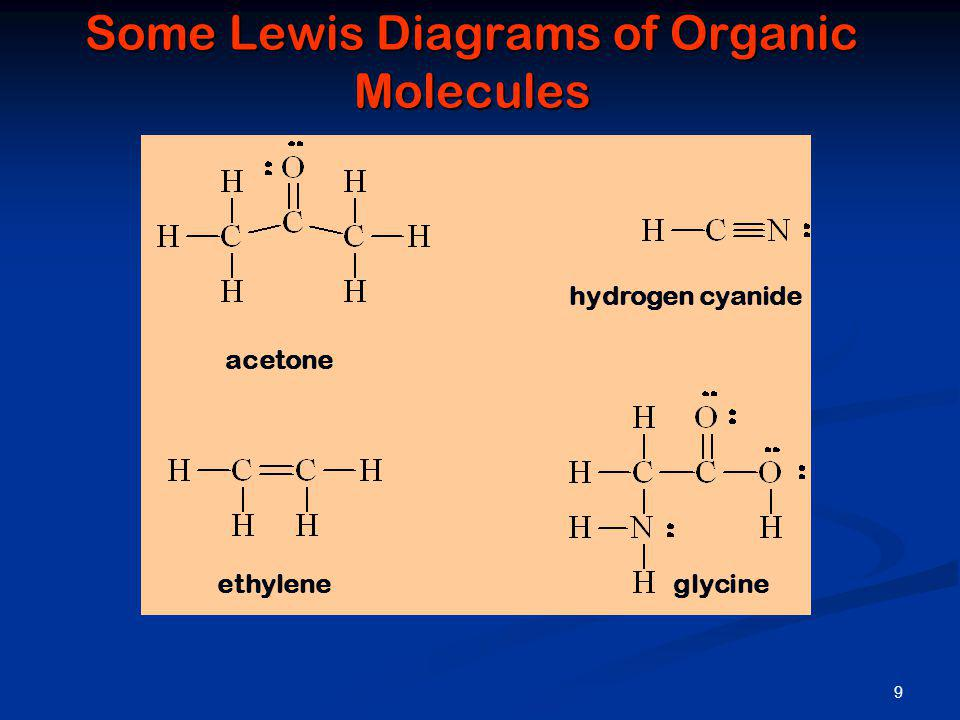 Some Lewis Diagrams of Organic Molecules