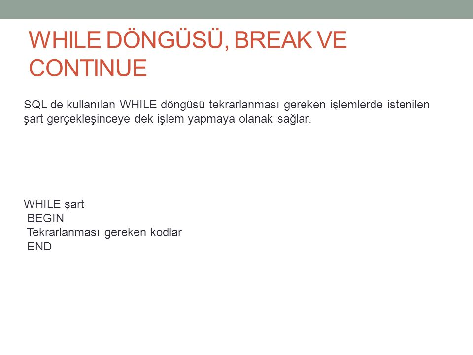 WHILE DÖNGÜSÜ, BREAK VE CONTINUE