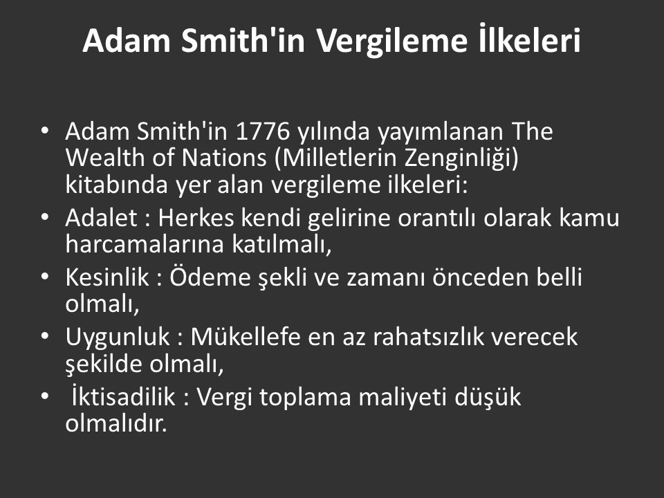 Adam Smith in Vergileme İlkeleri