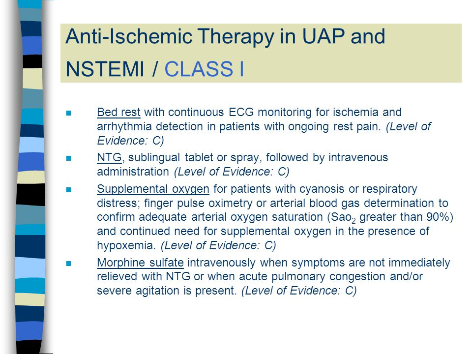 Anti-Ischemic Therapy in UAP and NSTEMI / CLASS I