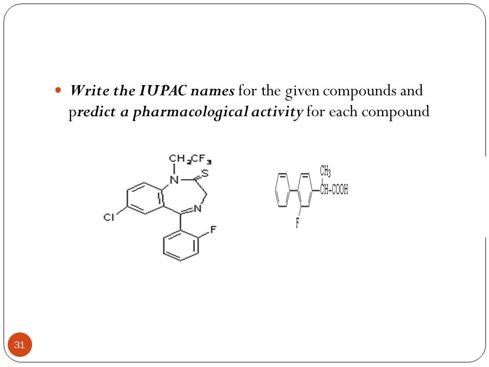 Write the IUPAC names for the given compounds and predict a pharmacological activity for each compound