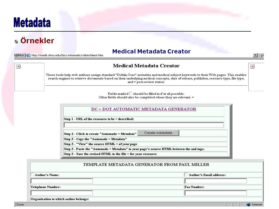 Metadata Örnekler Medical Metadata Creator