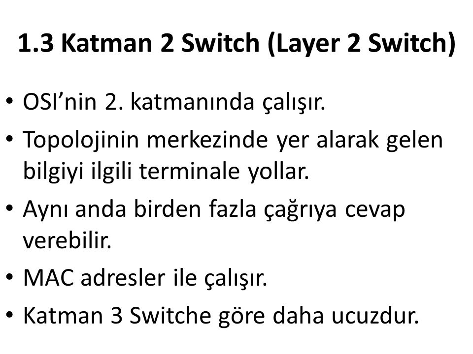 1.3 Katman 2 Switch (Layer 2 Switch)