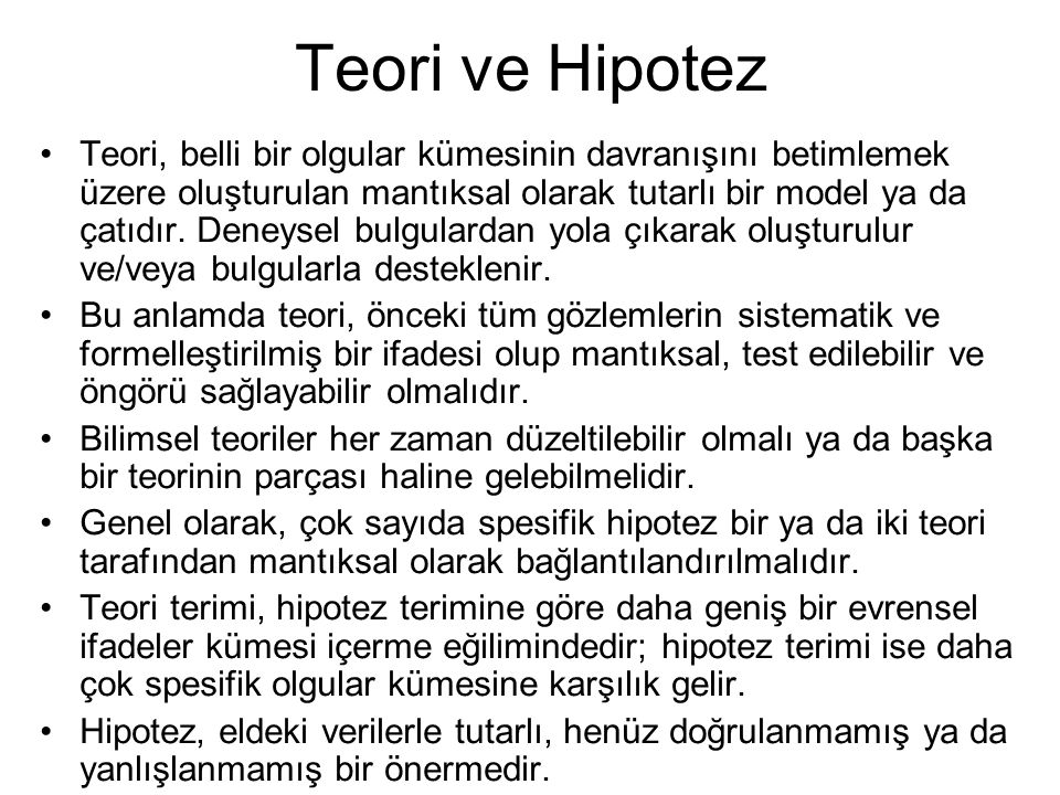 Teori ve Hipotez