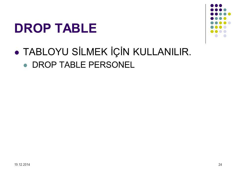 DROP TABLE TABLOYU SİLMEK İÇİN KULLANILIR. DROP TABLE PERSONEL